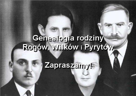 historyczna okładka internetowej genealogii rodziny Rogów, Wilków i Pyrytów