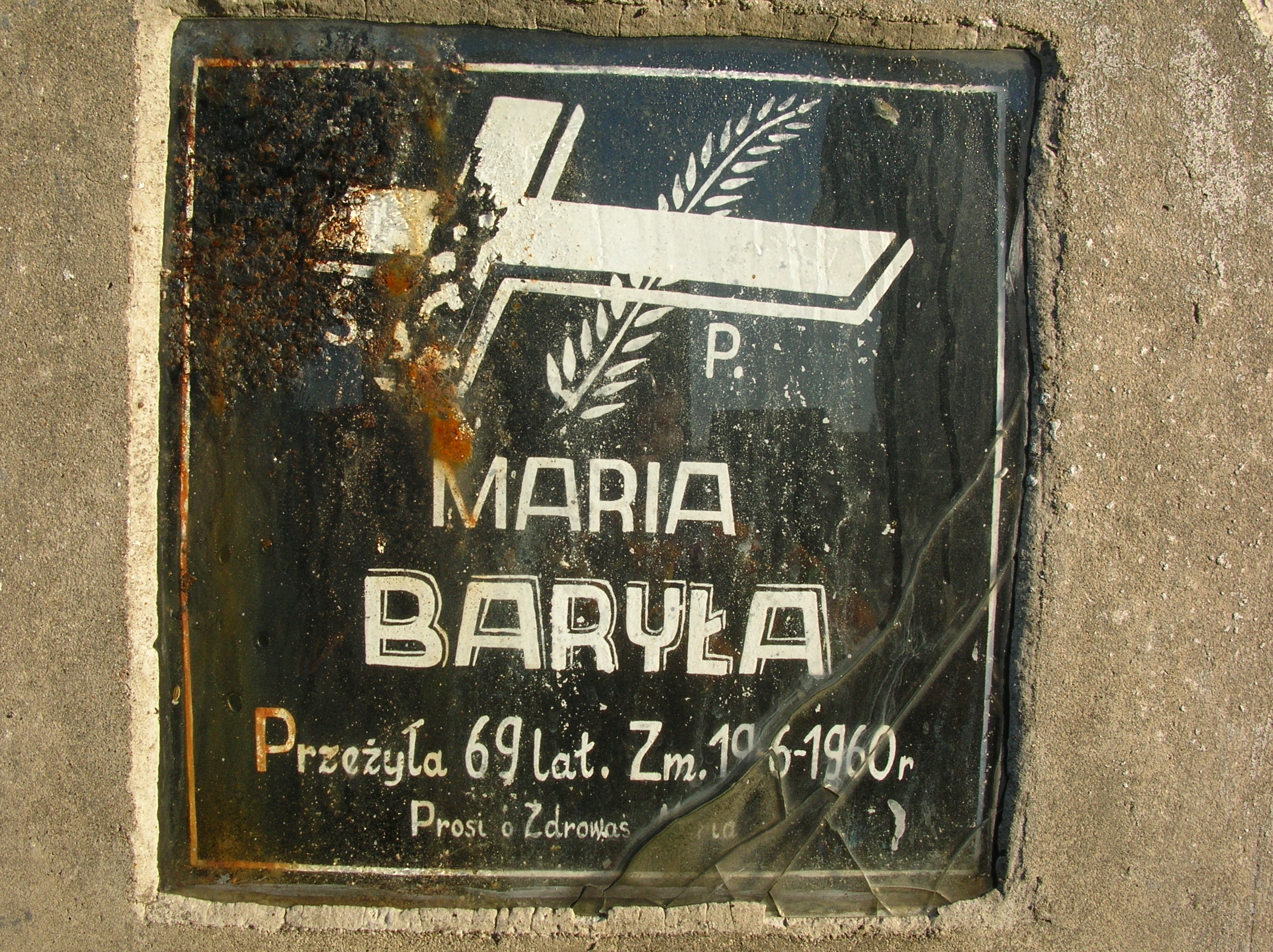 Tablica nagrobna Marii Baryły, najmłodszej córki Piotria, panny