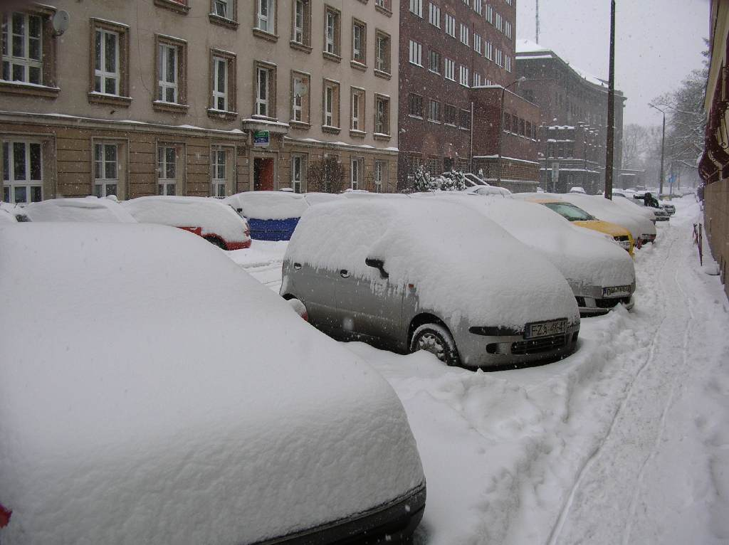Samochody pod śniegiem