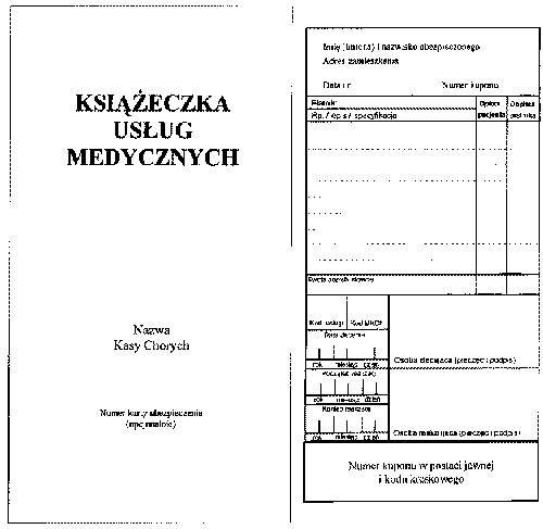 Książeczka usług medycznych (okładka i kupon części wymiennej)