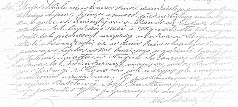 Akt zgonu 40/1854 Salomei Barełowej (MR4919)