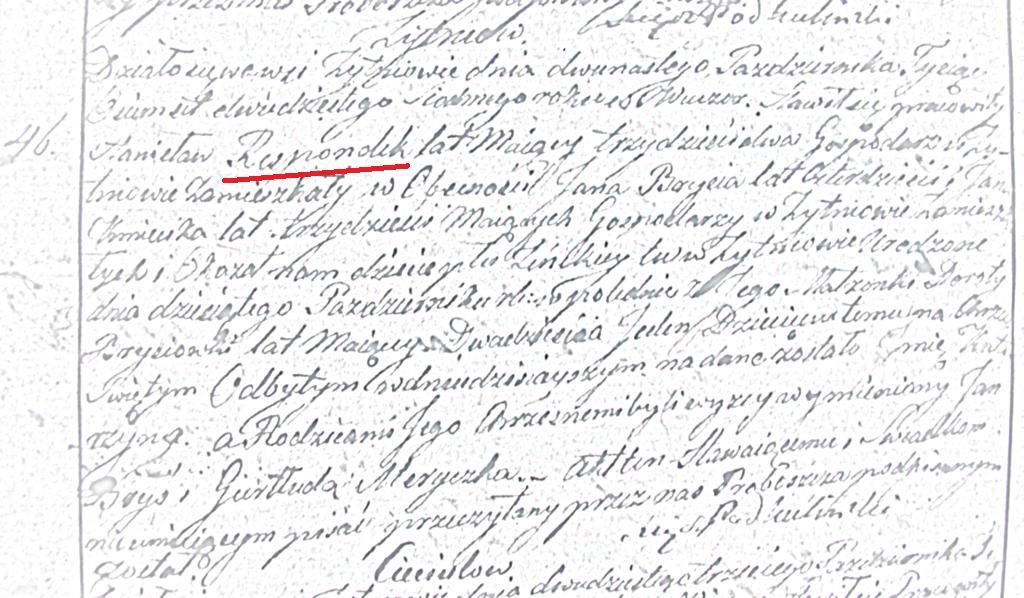 Przykładowy akt urodzenia Katarzyny Respondek (ASC Żytniów 46/1827)
