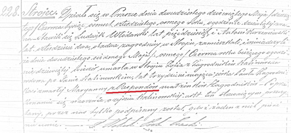 Akt zgonu Zofii, córki Marii z Respondów (ASC Praszka 228/1848, MR4879)