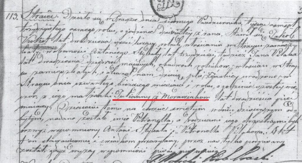 Akt urodzenia Petroneli Kokot