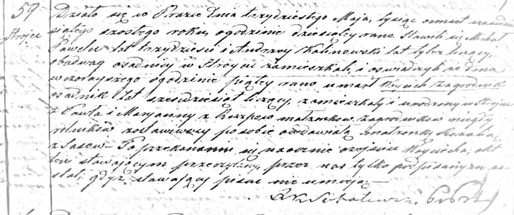 Akt zgonu Wojciecha Zagrodnika (ASC Praszka 59/1866)
