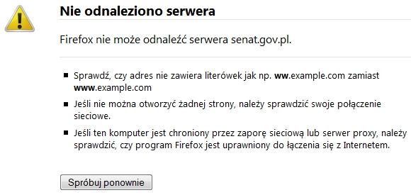 Domena senat.gov.pl nie istnieje