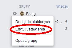 menu kontekstowe grupy