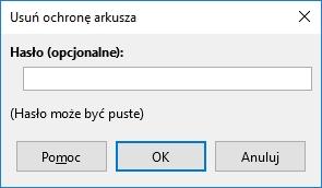 Odblokowanie niektórych zablokowanych arkuszy wymaga podania hasła.