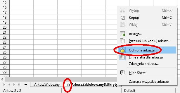 Jeśli chociażby jeden z arkuszy jest zablokowany, przed edycją styli trzeba tymczasowo wyłączyć jego ochronę. Od wersji 6.0 LibreOffice oflagowuje zablokowane arkusze kłódką.