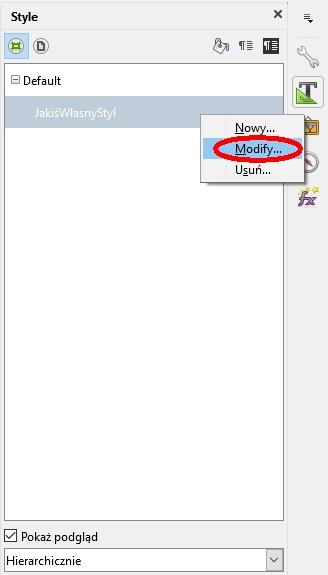 Calc: próba przejścia z menu kontekstowego do modyfikowania klasy stylu czasem nie powoduje żadnej reakcji programu.