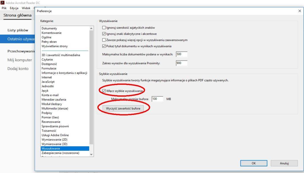 Szybkie wyszukiwanie i czyszczenie bufora Adobe