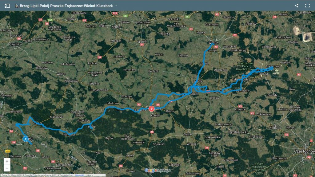Brzeg-Praszka rowerem mapa ©Google