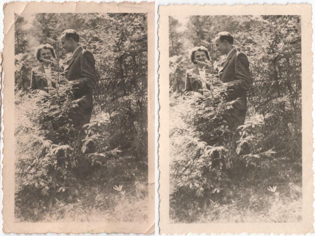 """""""pierwsze randki"""" dziadków nad Wartą, może w Bobrownikach? z lewej zdjęcie z rodzinnego albumu (MR00254), obok drugie (MR11526) przypadkiem wróciło (MR03829) do ich wnuka"""