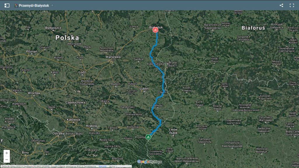 Przemysl-Bialystok rowerem mapa ©Google