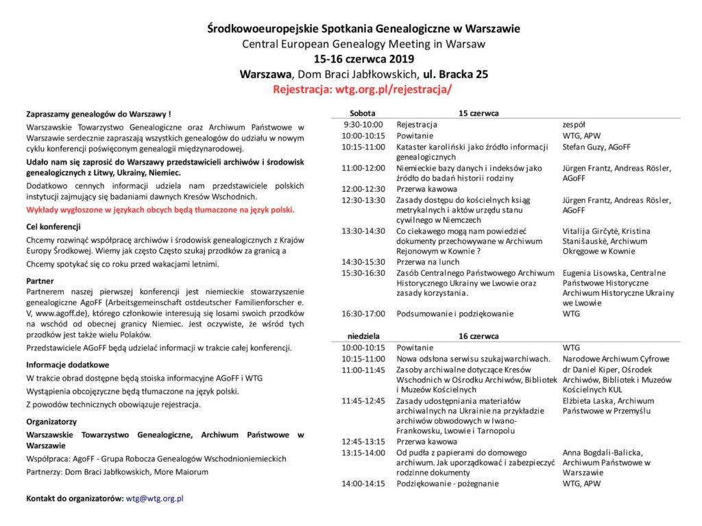 program Środkowoeuropejskich Spotkań Genealogicznych w Warszawie 2019 (materiały organizatorów)
