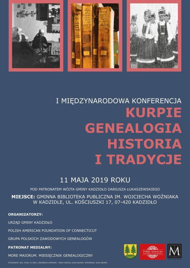 """plakat I Międzynarodowej Konferencji """"Kurpie Genealogia Historia i tradycje"""" 2019 (materiały organizatorów)"""