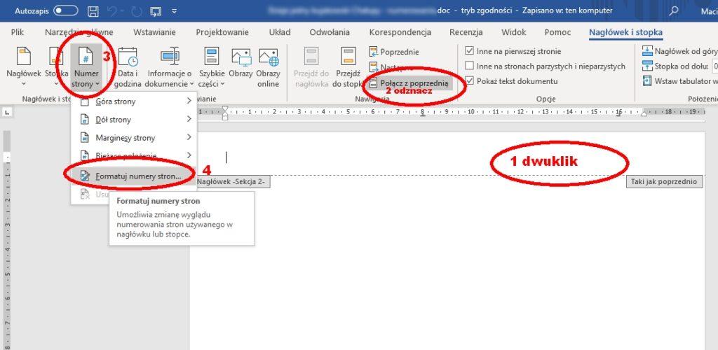 W Microsoft Office Word na wyodrębnionej stronie trzeba dwuklikiem zaznaczyć nagłówek i stopkę, by odznaczyć połączenie z poprzednią stroną (jeśli pole to pozostaje zaznaczone, jak na obrazku, wówczas edytujemy stopkę/główkę/stronę wszystkich stron tak połączonych), przejść do przycisku Numer strony i tam wybrać jego Formatowanie.