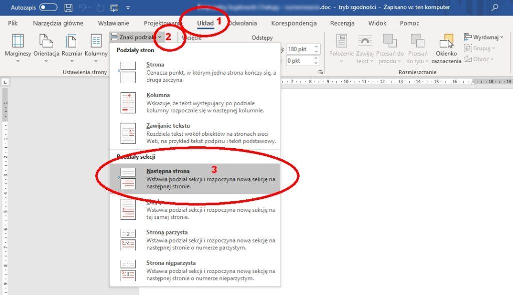 W Microsoft Office Word aby strona zawierała inny numer (lub go ukrywała), trzeba ją wpierw podzielić przez wstęgę Układ → Znaki podziału → Następna strona