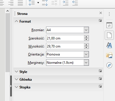W LibreOffice Write: edytowanie bieżącego stylu stron