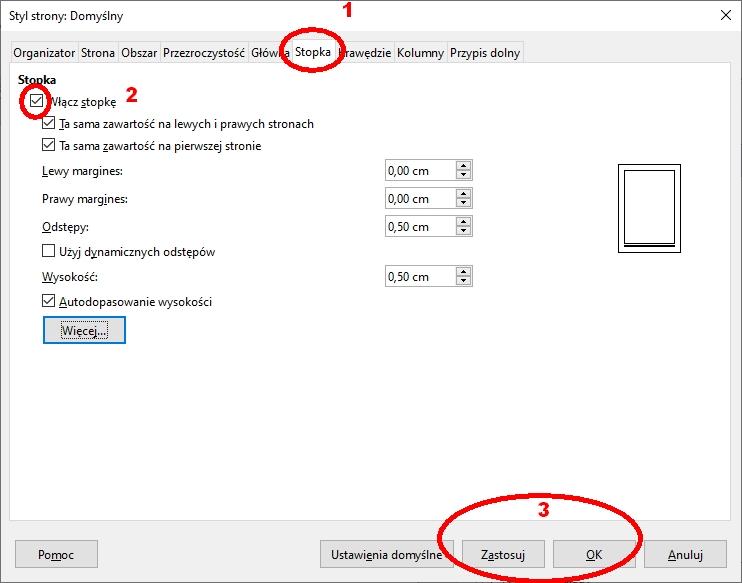 W LibreOffice Writer drugi sposób dodawania/usuwania stopki poprzez modyfikację klasy/stylu strony