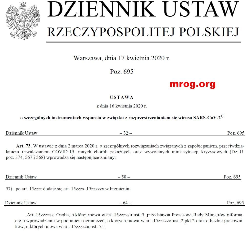 fragment dziennika urzędowego z art. 15zzzzzx