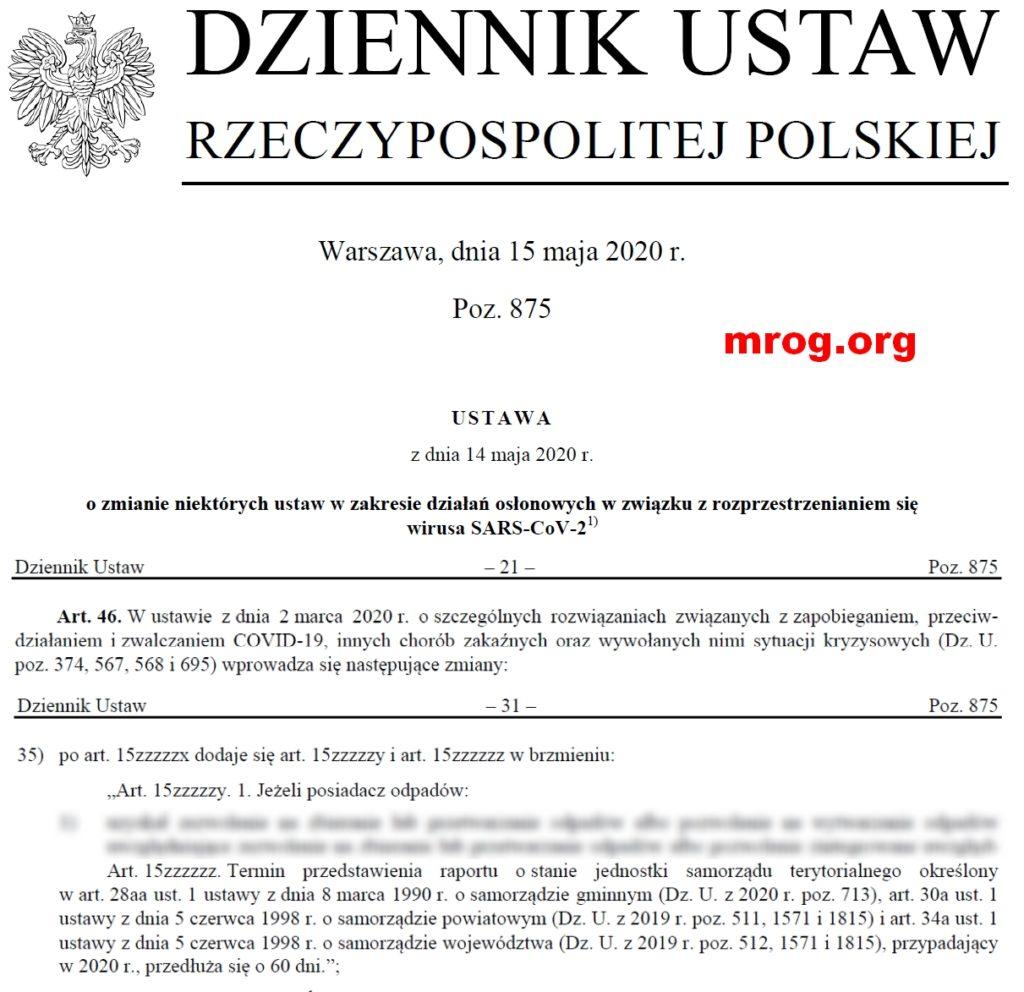 fragment dziennika urzędowego z art. 15zzzzzz