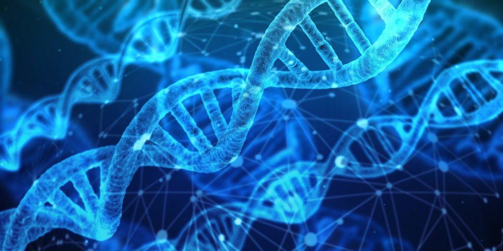 wyobrażenie podwójnej spirali-helisy materiału genetycznego DNA, ryc. Pixabay 3539309 geralt Gerd Altmann