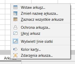 czasami menu kontekstowe uniemożliwia usuwanie arkusza