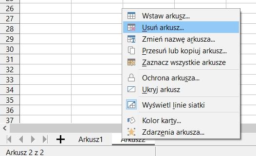 zazwyczaj arkusze można usuwać z menu kontekstowego