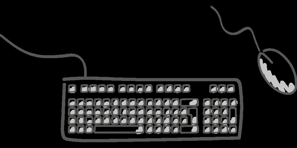 szkic przewodowej klawiatury i myszki komputerowej, fot. Pixabay 1412284 Schmidsi