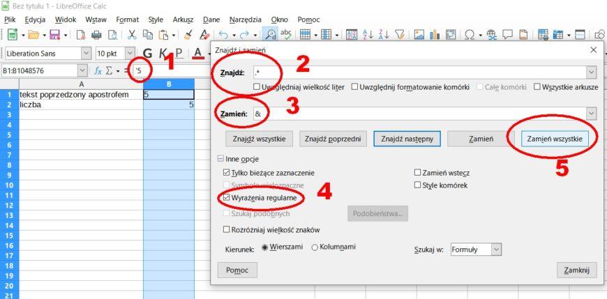 widok arkusza kalkulacyjnego LibreOffice Calc z apostrofem poprzedzającym teksty, które chcemy zamienić na liczby, ryc. własna MR